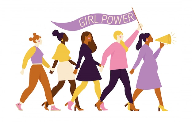 Happy women or girls standing together and holding hands. group of female friends, union of feminists, sisterhood. flat cartoon characters isolated   illustration. Premium Vector