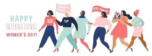 Happy women or girls standing together and holding hands. Premium Vector