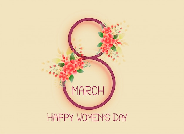 Happy women's day 8th of march design background Free Vector