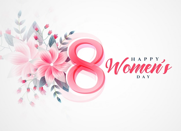 Happy women's day beautiful greeting background Free Vector