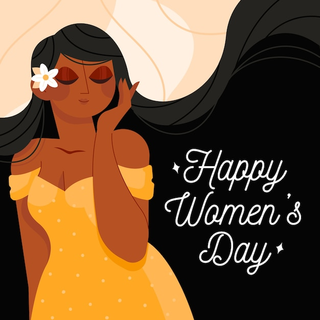 Happy women's day female with flower in her hair Free Vector