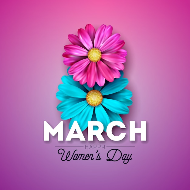 Happy women's day floral greeting card design Premium Vector