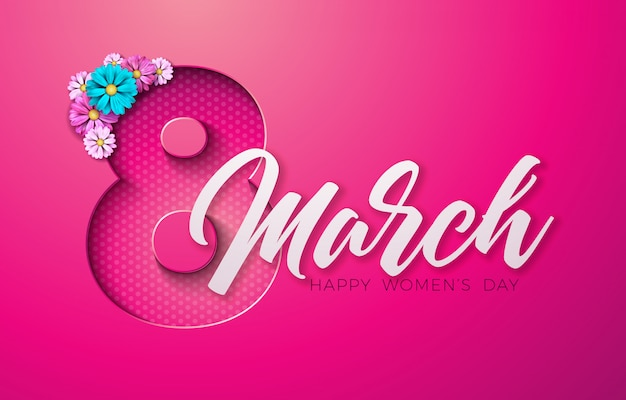 Happy women's day floral greeting card Premium Vector