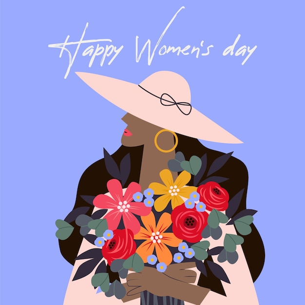 Happy women's day in floral style Free Vector