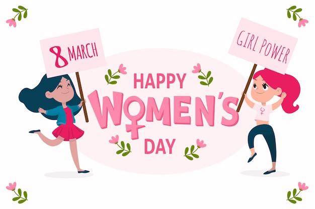 Happy women's day girl power hand drawn Free Vector