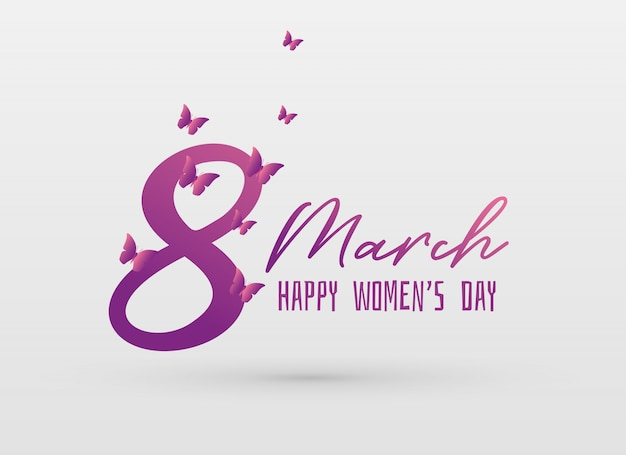 Happy women's day greeing card design background Free Vector