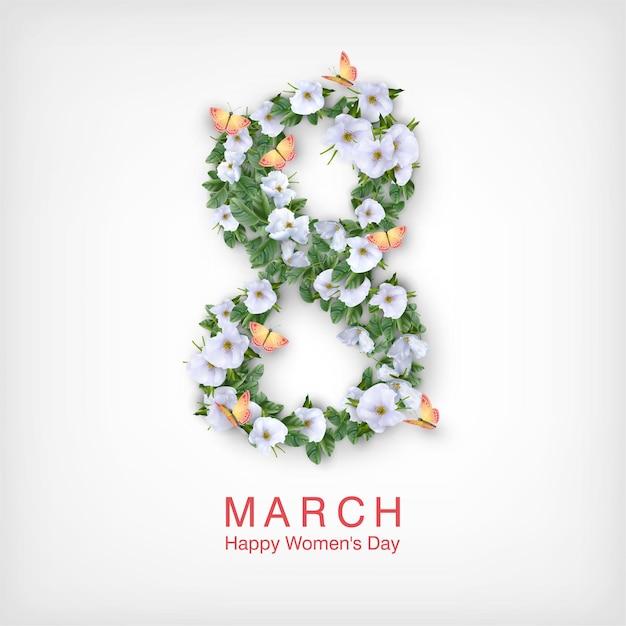 Открытка с днем женщин. открытка на 8 марта Premium векторы