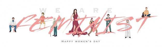 Happy women's day header Premium Vector