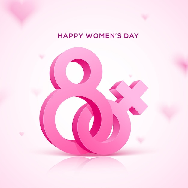 Happy women's day holiday . 3d eight pink text with pink female symbol. Premium Vector