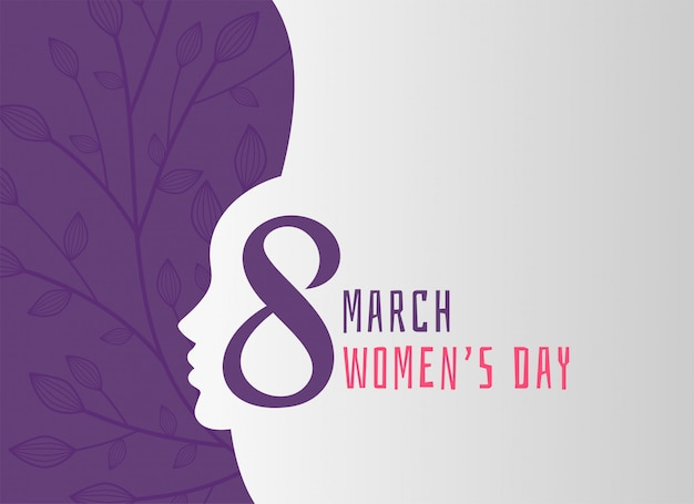 Happy women's day holiday background with girl face Free Vector