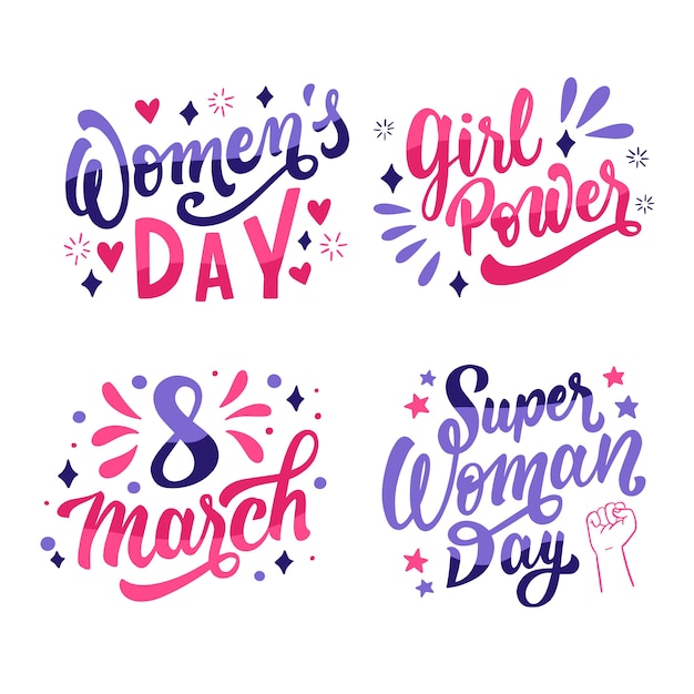 Happy women's day lettering badge set Free Vector