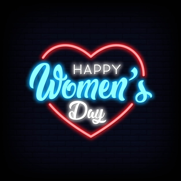 Happy women's day lettering text effect neon Premium Vector