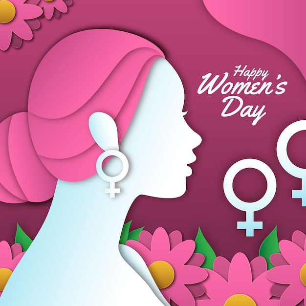Happy women's day in paper style with colorful flowers Free Vector