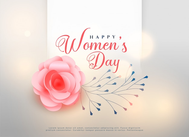 Happy women's day rose flower background card Free Vector