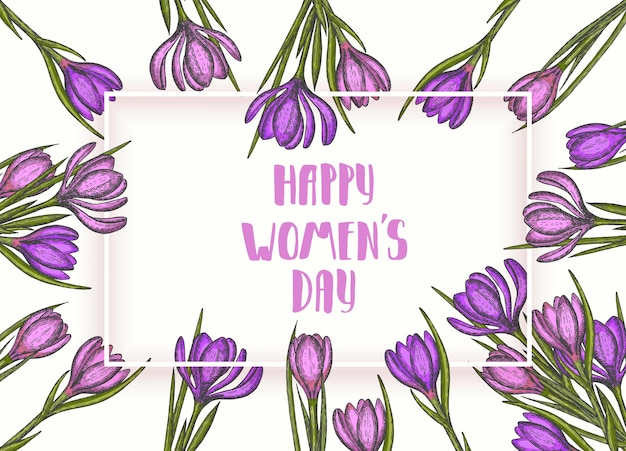 Happy women's day. spring flowers hand drawn lilac and pink crocus. Premium Vector