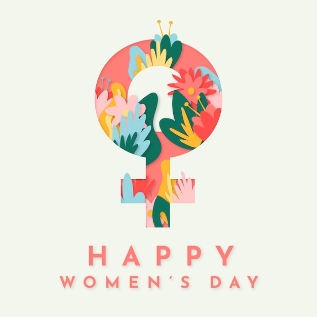 Happy women's day with female sign and flowers Free Vector