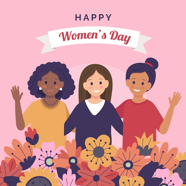 Happy women's day with flowers Free Vector