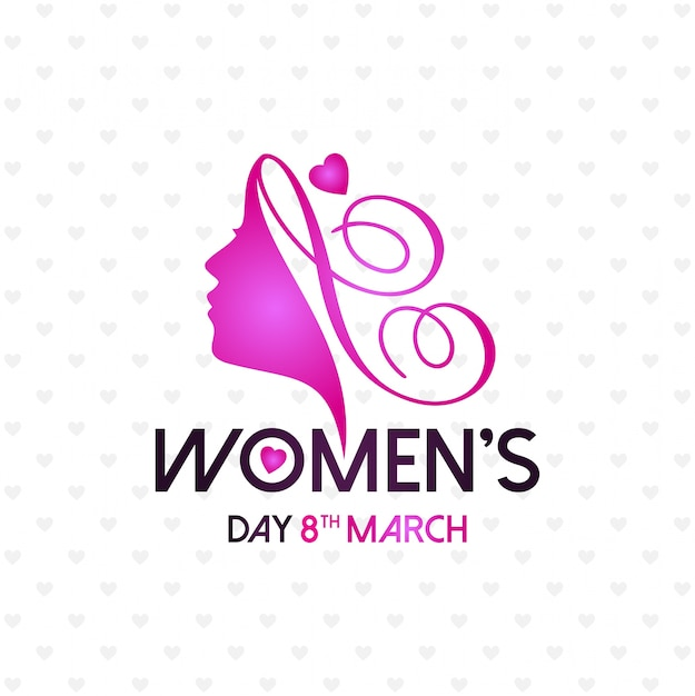 Happy women's day with light pattern background and typography Free Vector