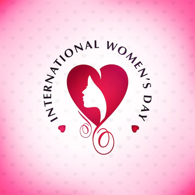 Happy Women's day with pink pattern background and typography Free Vector