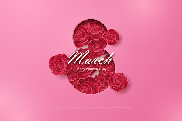 Happy women's day with red roses. Premium Vector