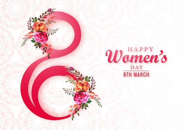 Happy womens day 8th march greeting card Free Vector