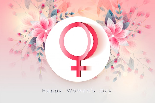 Happy womens day beautiful flower background Free Vector