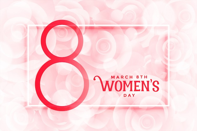 Happy womens day beautiful pink flowers background Free Vector