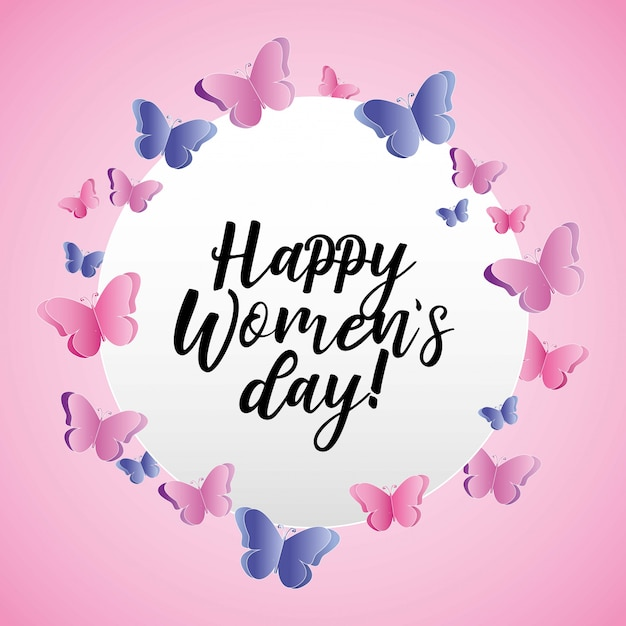 Happy womens day card Premium Vector