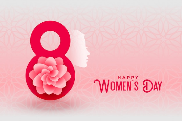 Happy womens day creative greeting card Free Vector