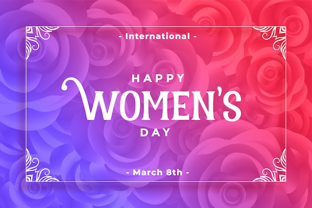 Happy womens day flower style vibrant background Free Vector