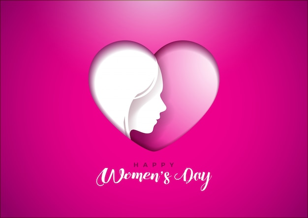 Happy womens day greeting card design with woman face silhouette in happy womens day greeting card design with woman face silhouette in heart shape premium vector m4hsunfo