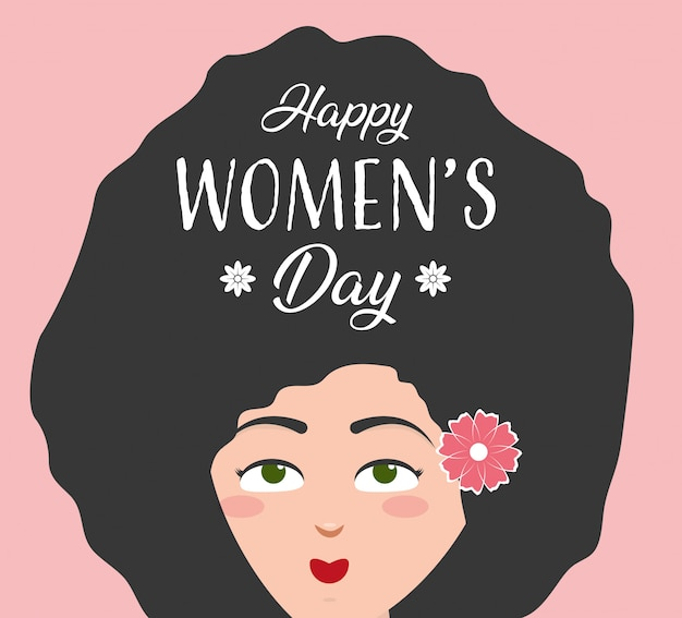 Happy womens day greeting card, woman with long afro hair and flower Free Vector