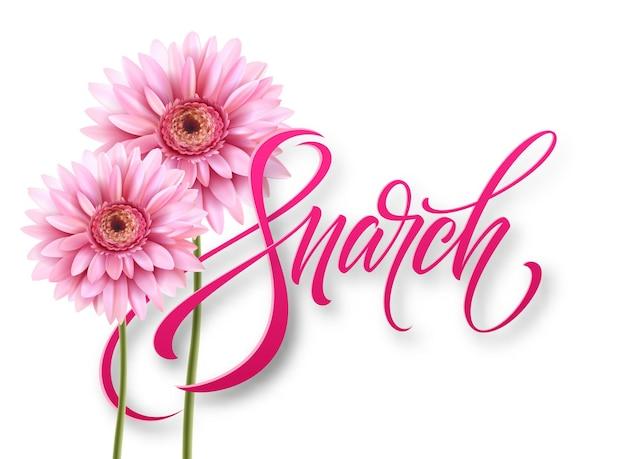 Happy womens day l'8 marzo. progettazione di calligrafia a mano moderna con fiore. illustrazione di vettore eps10 Vettore gratuito