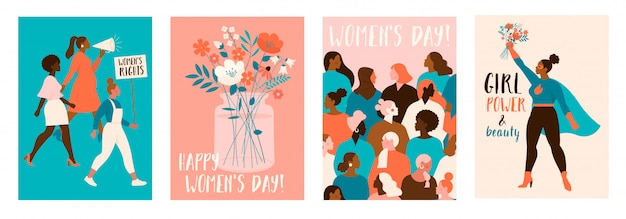 Happy womens day. modern festive illustration for 8 march celebration. Premium Vector