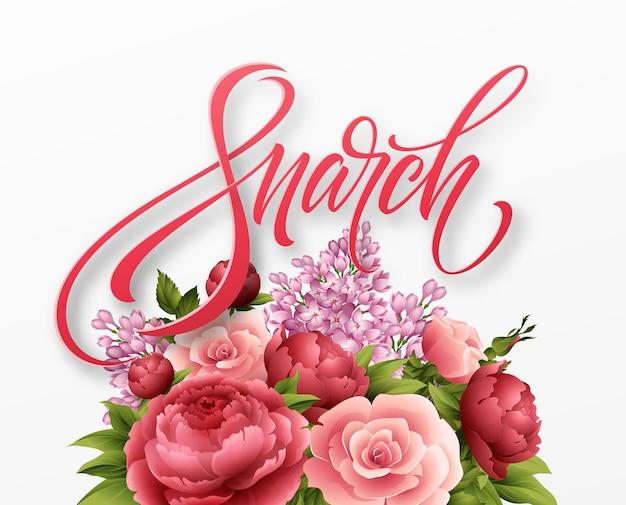 Счастливый женский день 8 марта. дизайн современной ручной каллиграфии с цветком. Бесплатные векторы