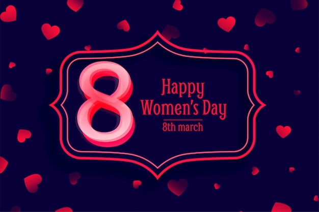 Happy womens day red heart decorative background Free Vector