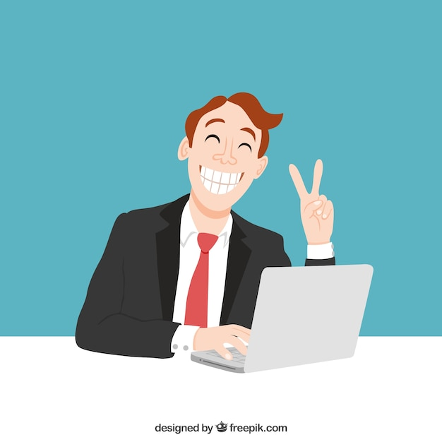 Happy worker Free Vector