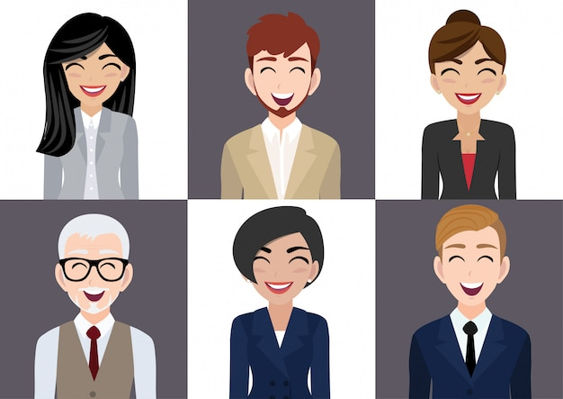 Happy workplace with smiling men and women cartoon character in office clothes Premium Vector