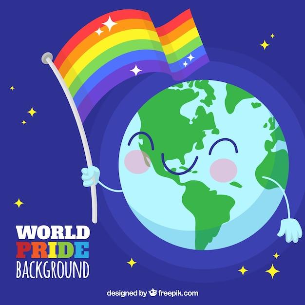 Happy world background with fl...