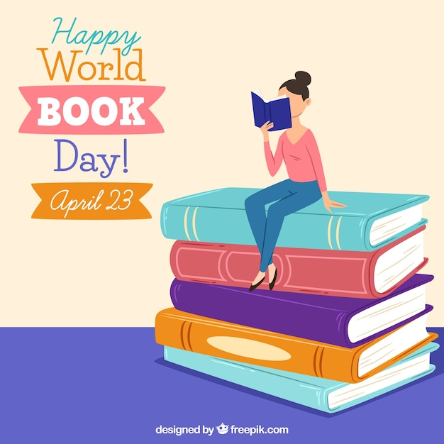 Happy world book day background Free Vector