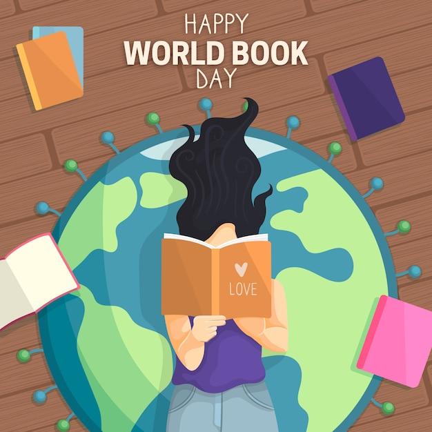 幸せな世界の本の日の少女と地球 無料ベクター