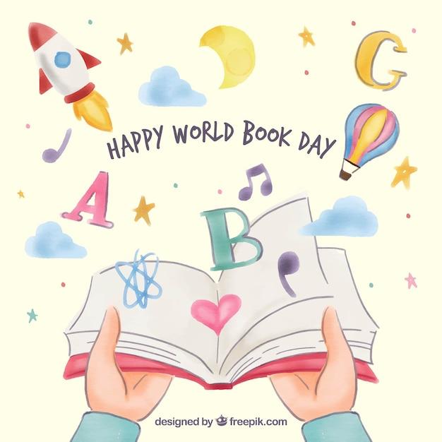 Priorità bassa piacevole di giorno felice del libro del mondo Vettore gratuito