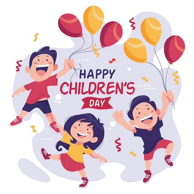 Happyworld children's day playing with balloons Premium Vector