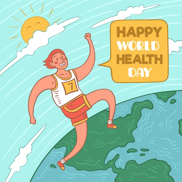 Happy world health day with person running Free Vector