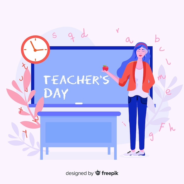 Happy world teacher's day background with female teacher and blackboard Free Vector