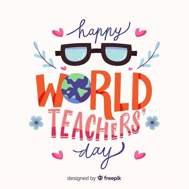 Happy world teacher's day background with lettering Free Vector