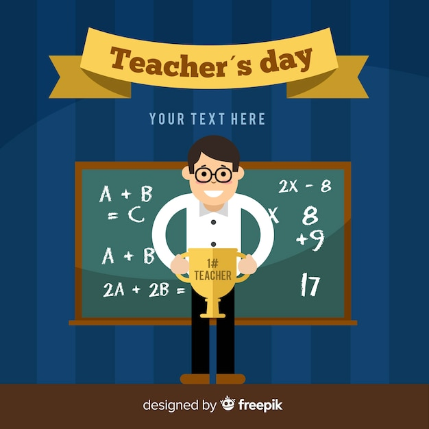 Happy world teacher's day background with male teacher and blackboard Free Vector