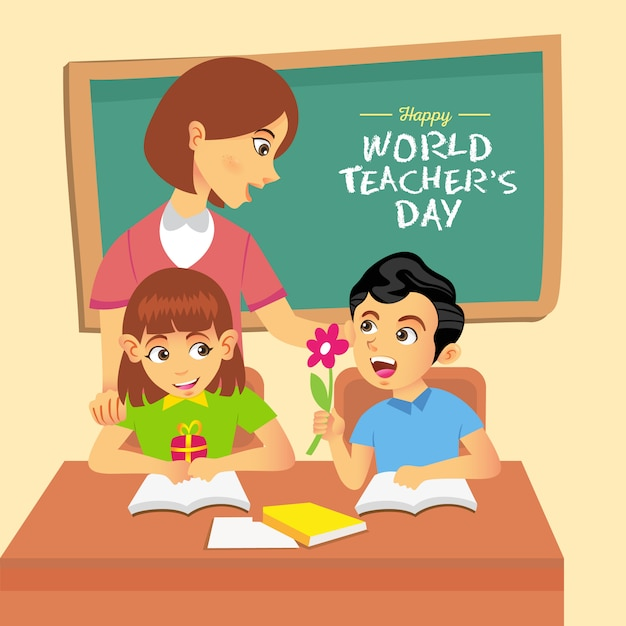 Happy world teacher's day cartoon illustration. suitable for greeting card, poster and banner Premium Vector