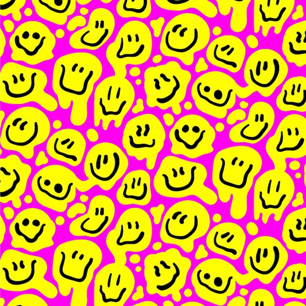 Happy yellow distorted emoticon seamless pattern template Free Vector