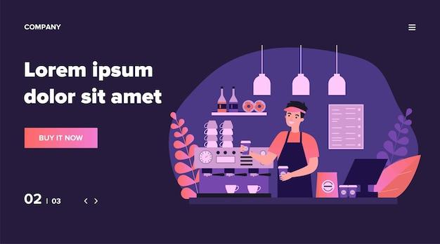 Счастливый молодой бариста, делающий кофе для иллюстрации клиента. человек, стоящий за прилавком и предлагающий горячий напиток. концепция обслуживания, станции и обеда. Premium векторы